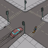 Car and Person at Intersection Royalty Free Stock Photo