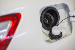 Car petrol. Neck of the fuel tank to fill with petrol 95 Stock Image