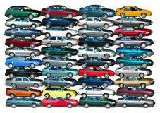 Car Pile. Cars piled up in white background Royalty Free Stock Photography