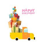Car and pile of presents. Happy birthday to you. Lot of gift box Stock Images