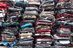 Car piles crushed Royalty Free Stock Photo