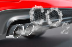 Free Car Pipe With Co2 Carbon Dioxide Emissions. Combustion Fumes Coming Out Of Car Exhaust Pipe Royalty Free Stock Photos - 157970388