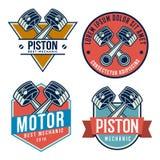 Car piston emblem set, autoservices repair related logo, emblem. Template Royalty Free Stock Photos