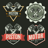 Car piston emblem set, autoservices repair related logo, emblem. Template Royalty Free Stock Images