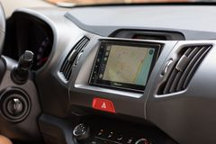 Car Play on the multimedia system with Apple Maps Royalty Free Stock Images