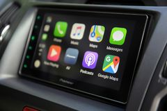 Car Play on the multimedia system with Google Maps Royalty Free Stock Photo