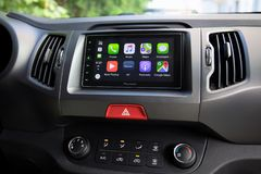 Car Play on the multimedia system with Google Maps Royalty Free Stock Images