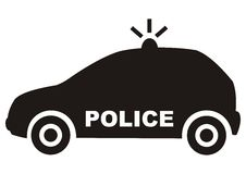 Car, police, black vector icon. Car - police. Black silhouette. Vector icon Royalty Free Stock Photography