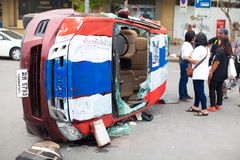 Car of police after collide with Anti-government protester. BANGKOK THAILAND- FEB 20: Car of police after collide with Anti-government protester on Ratchadamnoen Stock Images