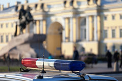 The car with a police flasher in the city of St. Petersburg, Rus Royalty Free Stock Photo