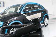 Car polish wax concept. Buffing and polishing car. Car detailing. Polish paste and tube. Polishing car service. Polish tools.  stock photo