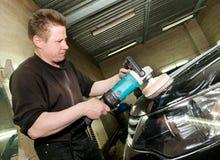 Car polishing worker Stock Photo