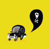 Car Pollution. Isolated on yellow. Vector Illustration in vintage style Stock Images
