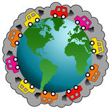 Car pollution. Cars and traffic polluting the planet Royalty Free Stock Photos