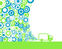 Car pollution. Abstract green van polluting air Royalty Free Stock Images