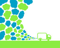 Car pollution. Green van polluting air with clouds Stock Photography