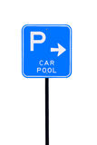 Car Pool Parking Sign - Isolated Royalty Free Stock Photography