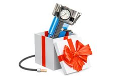 Car portable electric air compressor inside gift box, gift   Royalty Free Stock Photo