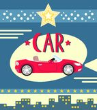 Car poster. Vintage car poster vector illustration stock illustration