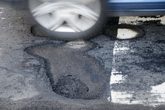 Car and pothole Stock Photography
