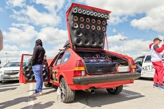 Car power music audio system. VOLGOGRAD - APRIL 21: Car with installed powerful subwoofer, amplifier and audio speakers to participate in car audio competitions stock photos