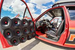 Car power music audio system. VOLGOGRAD - APRIL 21: Car with installed powerful subwoofer, amplifier and audio speakers to participate in car audio competitions stock image