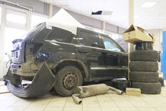 Car is prepared for repair Stock Image