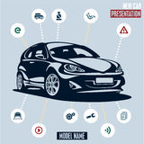 Car presentation. Main car icons set. Royalty Free Stock Images