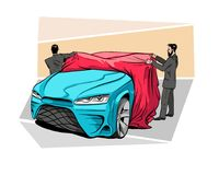 Car presentation of a new model is covered with a cloth.  Vector illustration. Car presentation of a new model is covered with a cloth. Hand drawn sketch design Stock Images