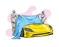 Car presentation of a new model is covered with a cloth.  Vector illustration. Car presentation of a new model is covered with a cloth. Hand drawn sketch design Royalty Free Stock Photography