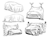 Car presentation by robots of a new model covered with a cloth. Vector illustration. Car presentation by robots of a new model covered with a cloth. Hand drawn stock illustration