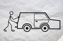 Car problem. Simple illustration of a humanoid figure having a problem with his car Stock Photos