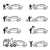 Car problem story icon set illustration pictogram. Black and white color isolated on white background Stock Photography