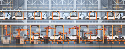 Car Production Conveyor Automatic Assembly Line Machinery Industrial Automation Industry Concept. Flat Vector Illustration royalty free illustration