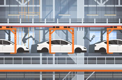 Car Production Conveyor Automatic Assembly Line Machinery Industrial Automation Industry Concept Royalty Free Stock Photos
