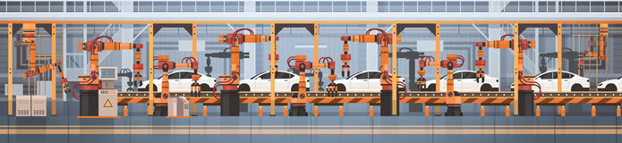 Car Production Conveyor Automatic Assembly Line Machinery Industrial Automation Industry Concept. Flat Vector Illustration Stock Photo