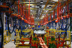 Car production line. The car production line is in a factory Royalty Free Stock Photography