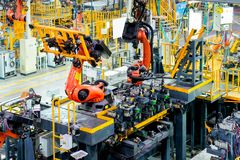 Car production line of the robot Royalty Free Stock Images