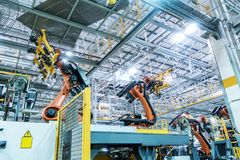 Car production line of the robot Stock Photo