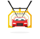 Car production line vector illustration auto maintenance process Royalty Free Stock Image