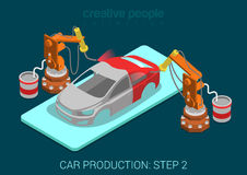 Car production plant robots painting process in assembly shop Stock Photos