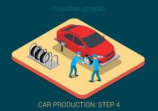 Car production plant tire assemply process Stock Photography
