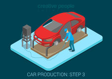 Car production plant welding process assembly shop Royalty Free Stock Image