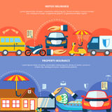 Car And Property Protection Horizontal Banners. With different types of vehicle house money insurance vector illustration Stock Photography