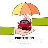 Car Protection Insurance Service Concept With Hand Holding Vehicle Under Umbrella Icon Stock Photography