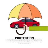 Car Protection Insurance Service Concept With Vehicle Under Umbrella Icon Stock Image