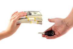 Car purchase. An exchange of money for keys Stock Photography