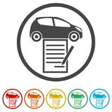 Car purchasing contract icon, 6 Colors Included. Simple  icons set Royalty Free Stock Photos
