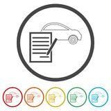 Car purchasing contract icon, 6 Colors Included. Simple  icons set Royalty Free Stock Images