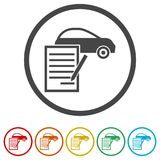 Car purchasing contract icon, 6 Colors Included. Simple vector icons set Royalty Free Stock Image